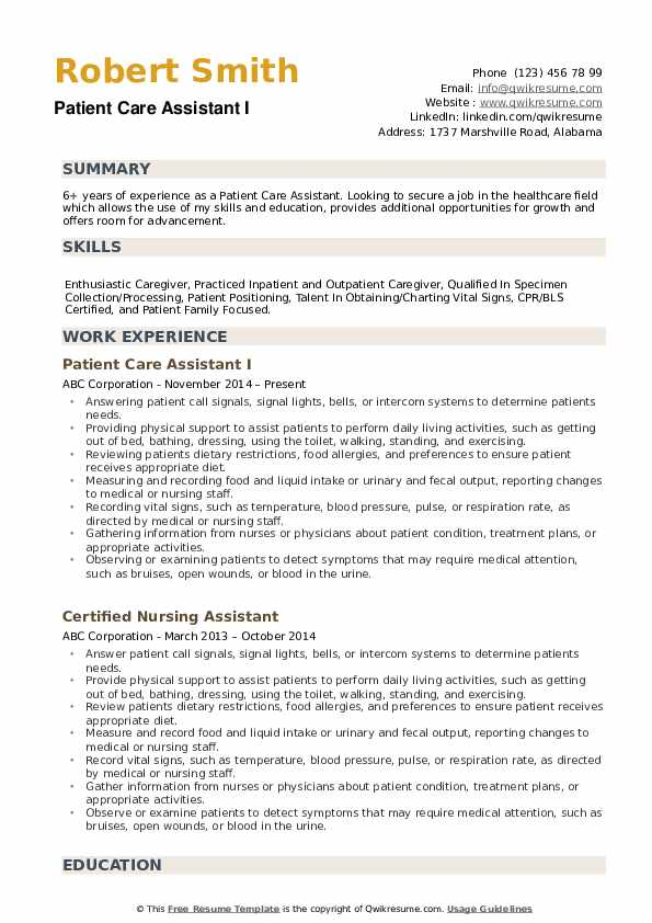 patient care assistant resume samples qwikresume pdf word templates work experience Resume Patient Care Assistant Resume