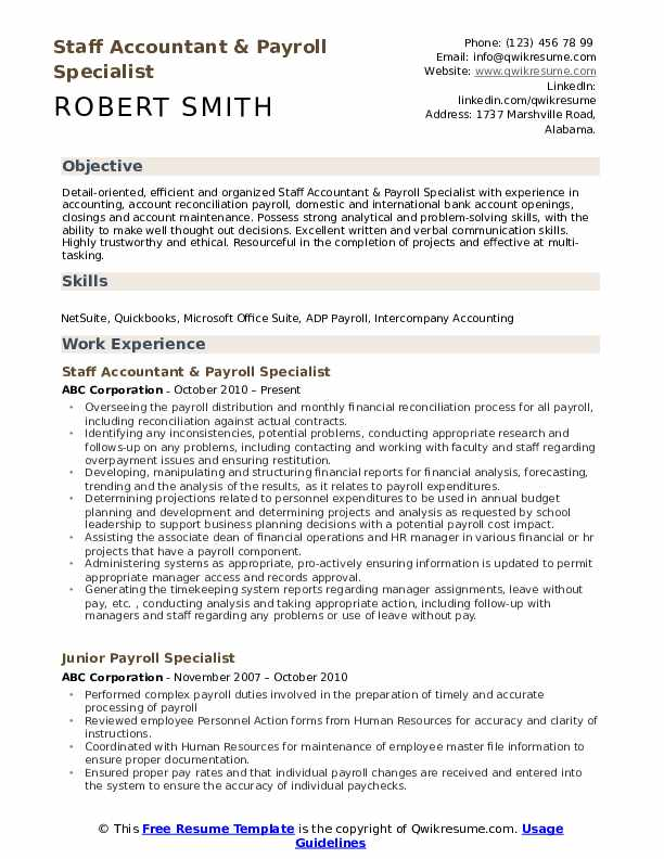 payroll specialist resume samples qwikresume examples pdf objective for non specific job Resume Payroll Resume Examples