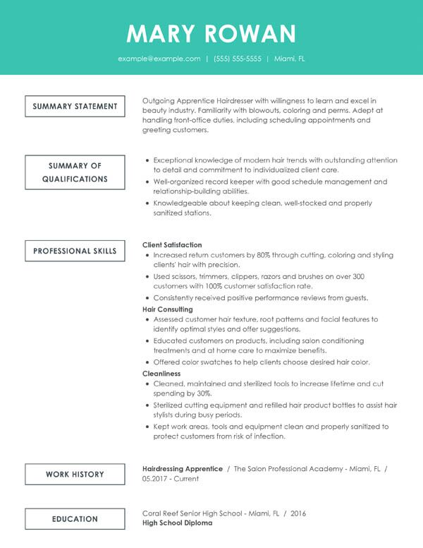 perfect resume examples for my an example of good simple functional entry level hair Resume An Example Of A Good Resume