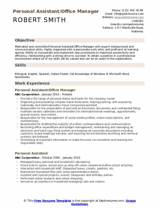personal assistant resume samples qwikresume skills pdf analyst account manager Resume Personal Assistant Skills Resume