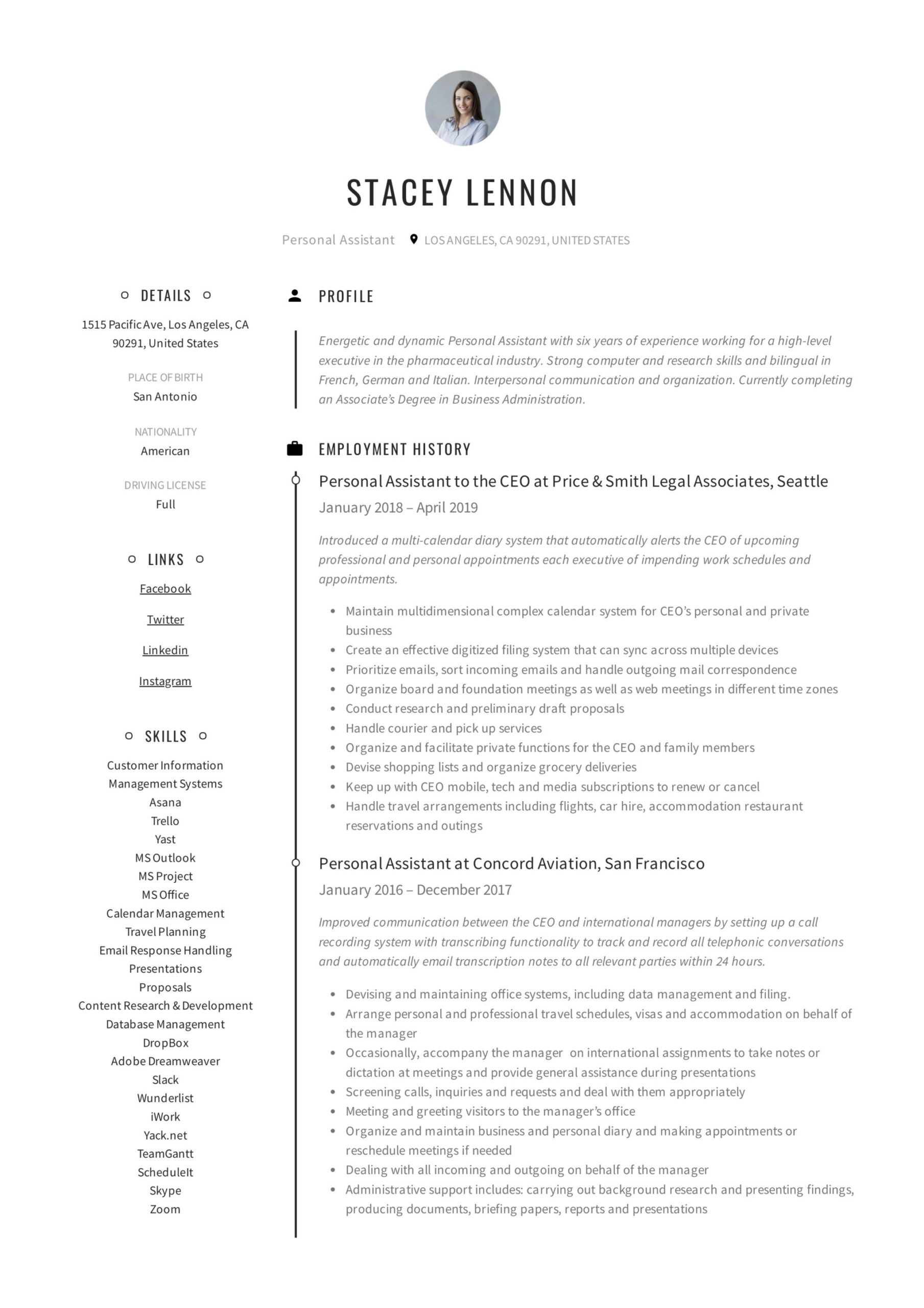 personal assistant resume writing guide templates pdf skills high school student music Resume Personal Assistant Skills Resume