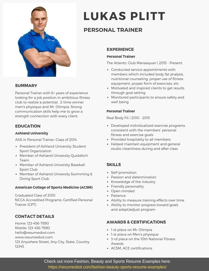 personal trainer resume samples templates pdf word resumes bot examples free format for Resume Resume Format For Fresher Gym Trainer
