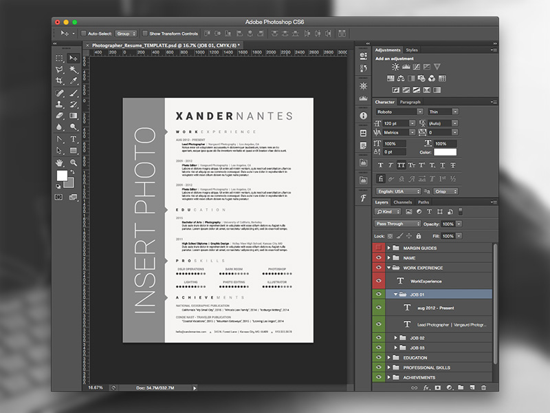 photographer resume photoshop template on behance free order of sections projects section Resume Photographer Resume Template Free