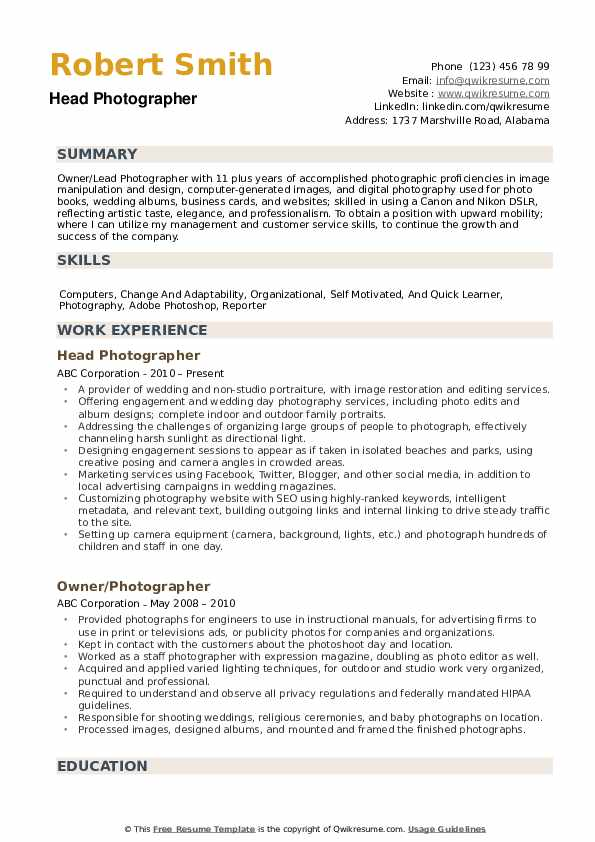 photographer resume samples qwikresume template free pdf objective for college student Resume Photographer Resume Template Free