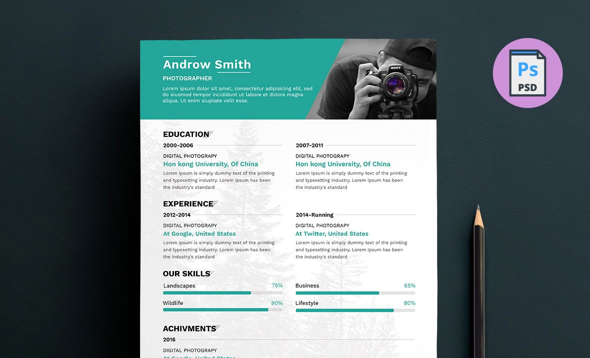 photographer resume template free photography 1180x716 projects section objective for Resume Photographer Resume Template Free