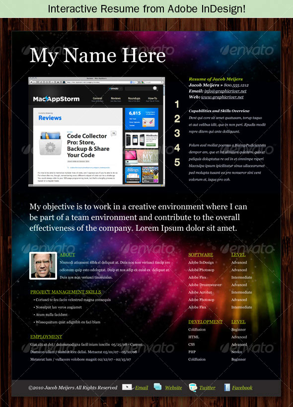 photoshop indesign cv resume templates idesignow interactive template collections Resume Interactive Resume Template