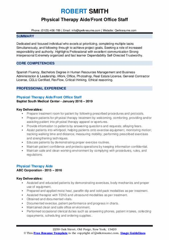 physical therapy aide resume samples qwikresume summary pdf payroll clerk enterprise rent Resume Physical Therapy Aide Resume Summary
