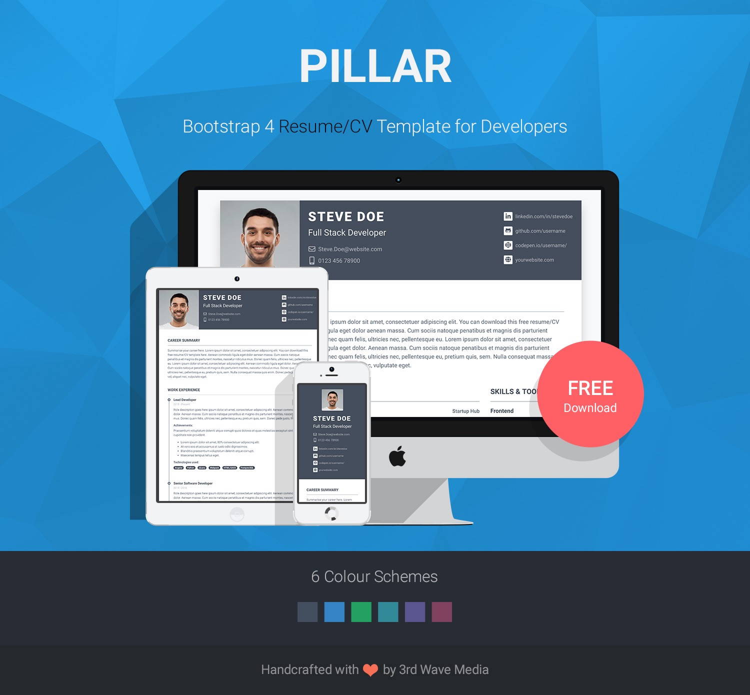 pillar free bootstrap resume cv template made for developers by xiaoying medium Resume Bootstrap Free Resume Template