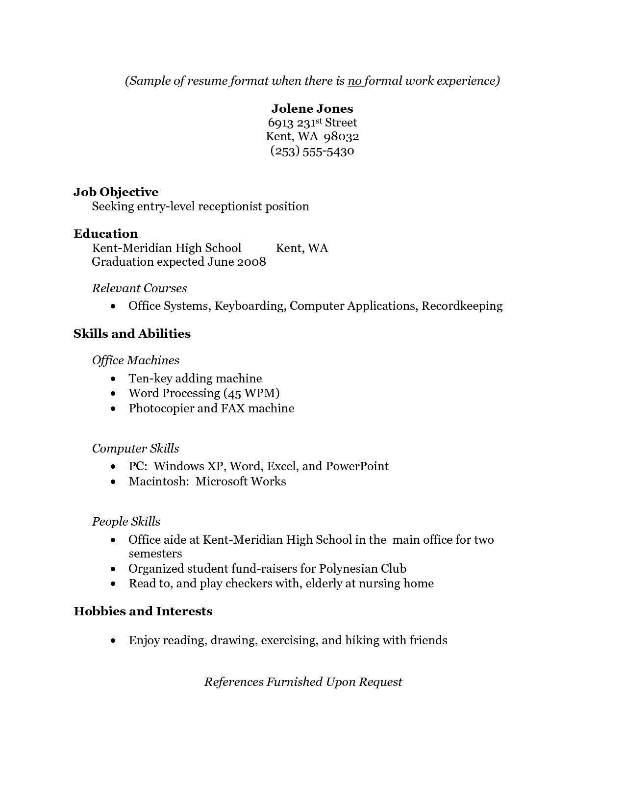 pin by ale on resume job examples no experience first with not much work best format for Resume Resume With Not Much Work Experience