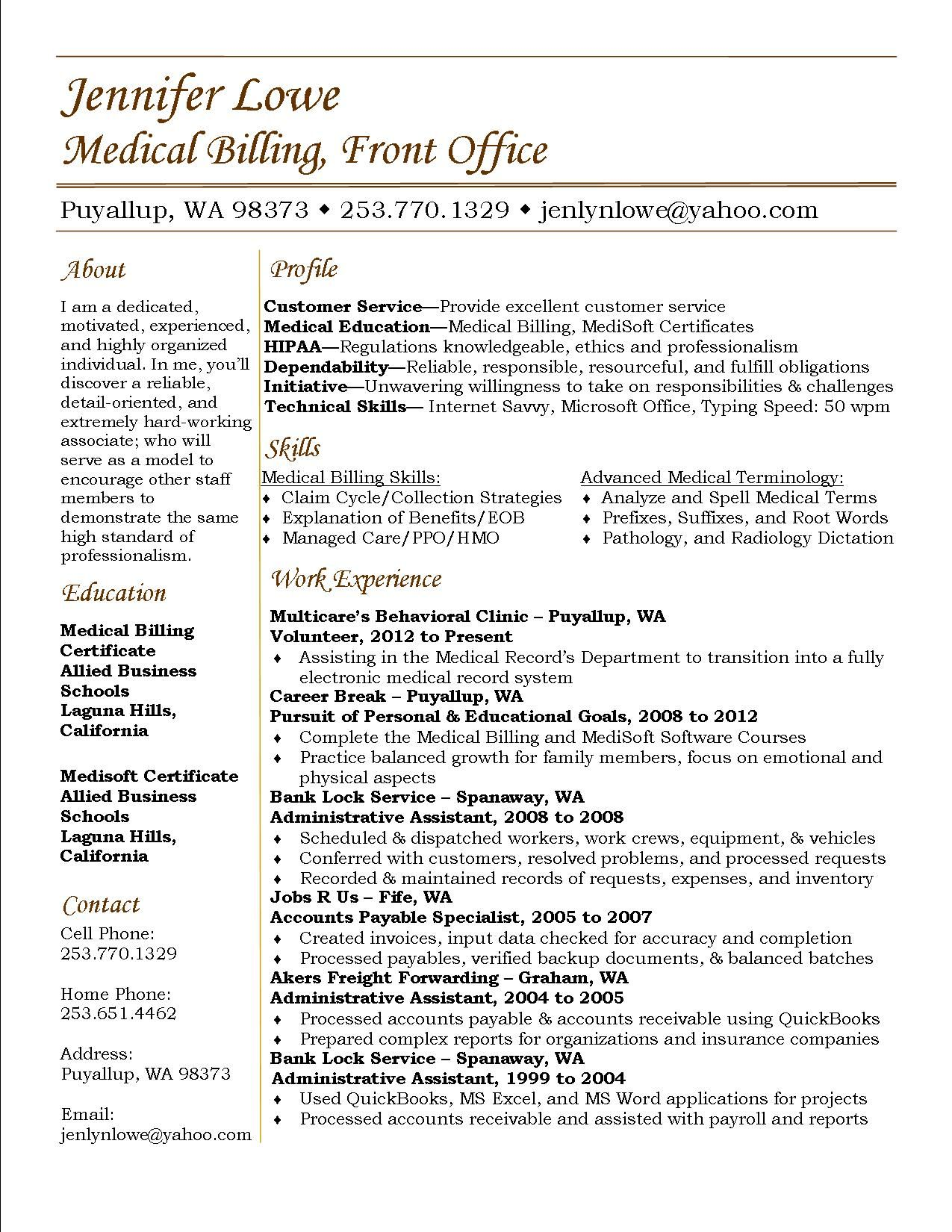 pin by julie castorina on stand out resumes medical resume billing and coding assistant Resume Sample Resume For Medical Billing And Coding