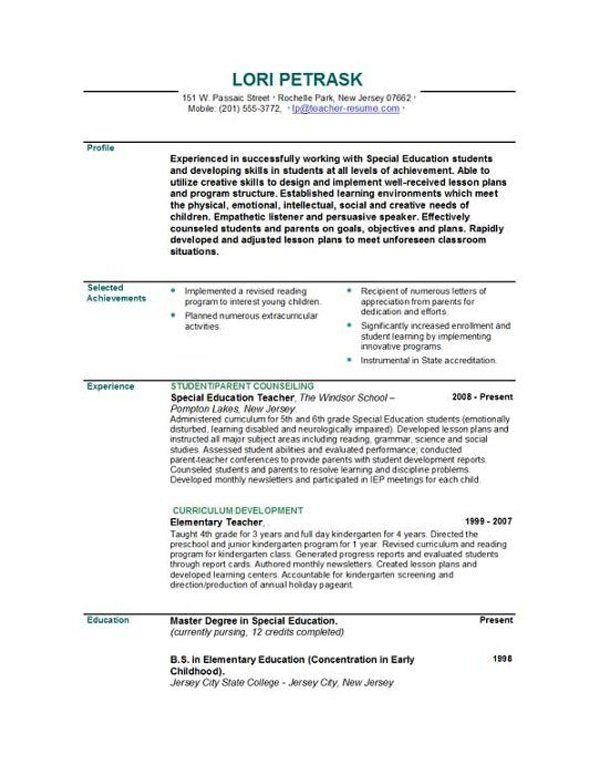 pin by lindsey schor on teacher resume examples education teaching achievements of Resume Achievements Of A Teacher Resume