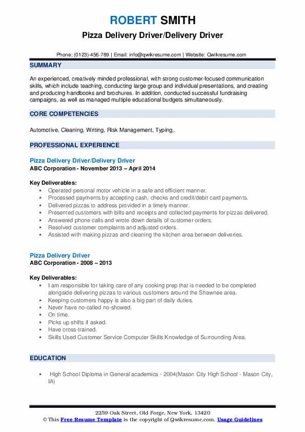 pizza delivery driver resume samples qwikresume pdf financial planning and analysis Resume Pizza Delivery Driver Resume