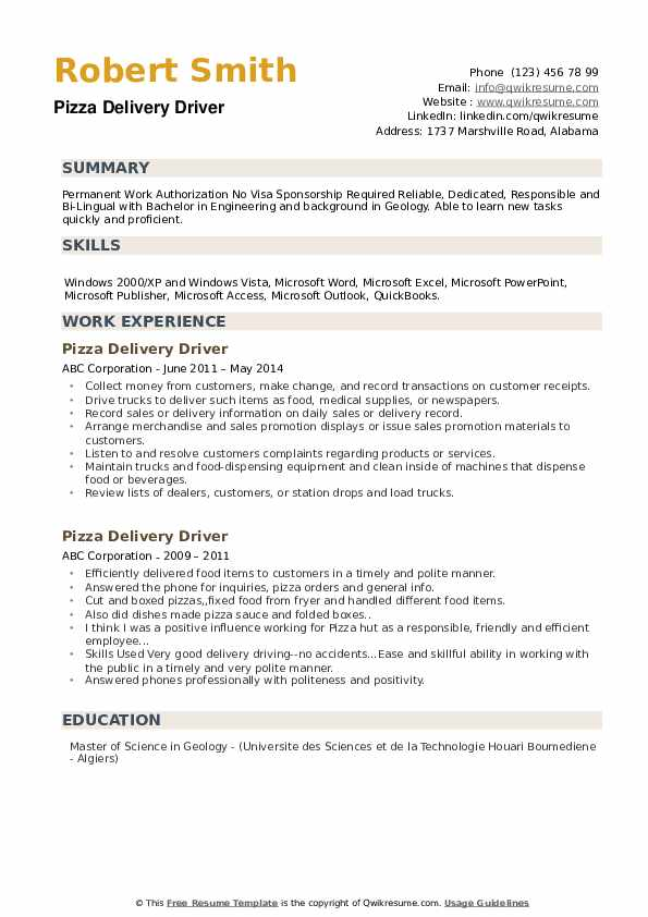 pizza delivery driver resume samples qwikresume pdf seeking an opportunity programmer Resume Pizza Delivery Driver Resume