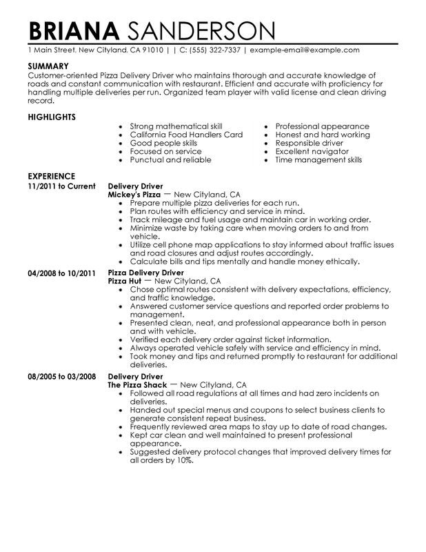 pizza delivery drivers resume examples created by pros myperfectresume another word for Resume Another Word For Delivery Driver For Resume