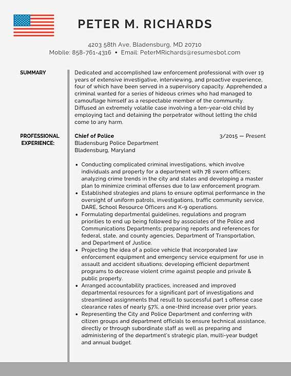 police chief resume samples templates pdf resumes bot experienced officer sample free Resume Experienced Police Officer Resume