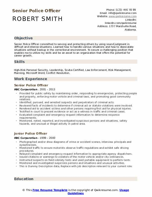 police officer resume samples qwikresume experienced pdf moderno free templates word Resume Experienced Police Officer Resume