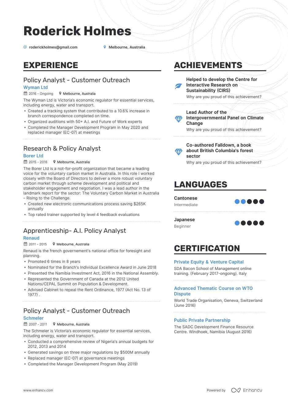 policy analyst resume example for enhancv political organizer examples of special skills Resume Political Organizer Resume