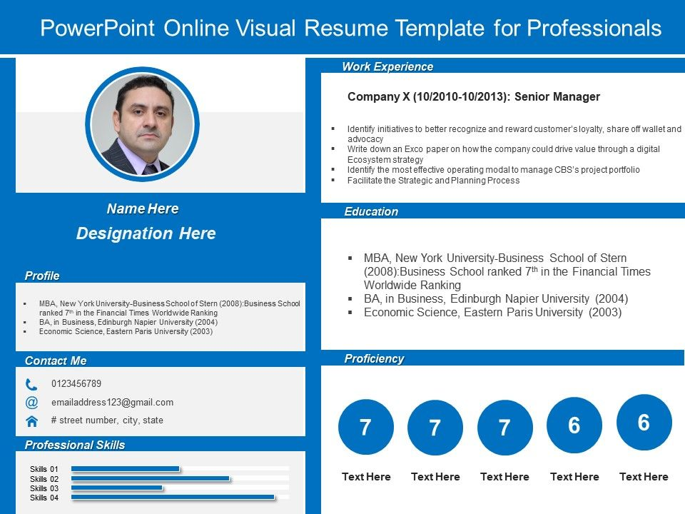 powerpoint visual resume template for professionals presentation sample example of Resume Digital Resume Portfolio