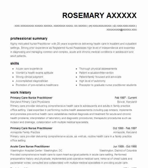 primary care pediatric nurse practitioner resume example anthony health center rochester Resume New Grad Nurse Practitioner Resume