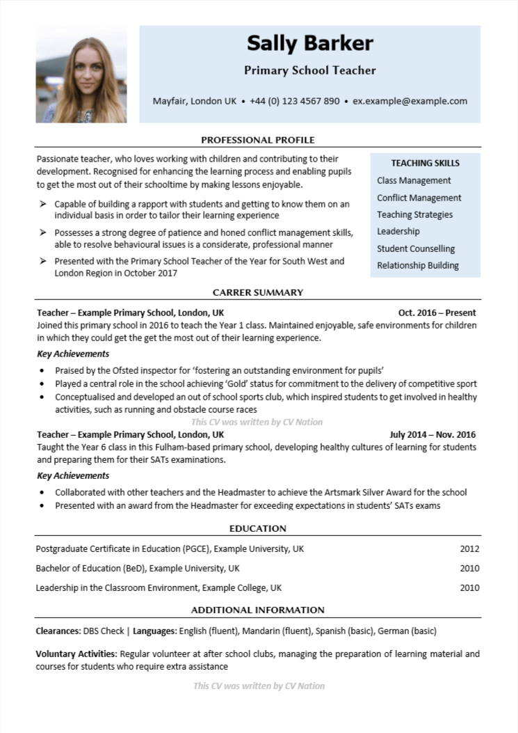 primary school teacher cv template get yours now nation student resume unfinished Resume Primary School Student Resume