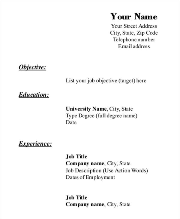 printable resume template free word pdf documents premium templates forms to print blank Resume Free Resume Forms To Print