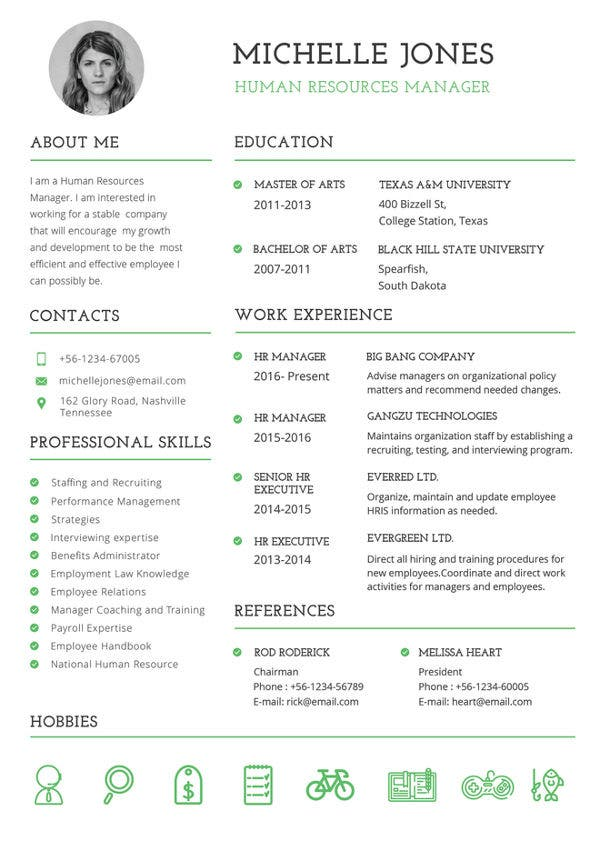 printable resume template free word pdf documents premium templates professional hr Resume Resume Templates Free Download Pdf