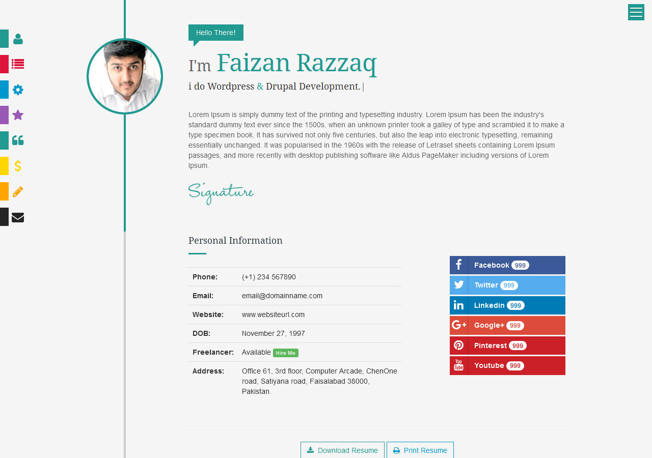 prismcv stylish interactive resume cv template by umairrazzaq homepage timeline Resume Interactive Resume Template