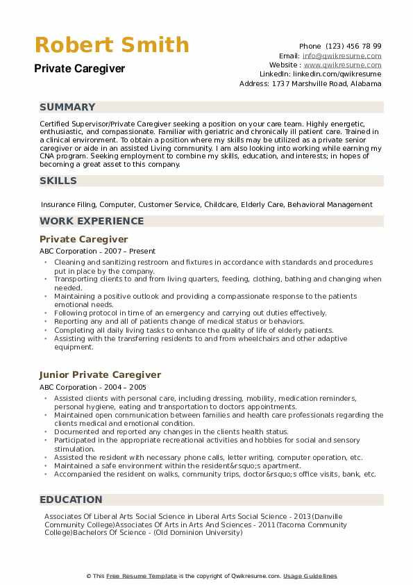 private caregiver resume samples qwikresume duties and responsibilities pdf now cost Resume Caregiver Duties And Responsibilities Resume
