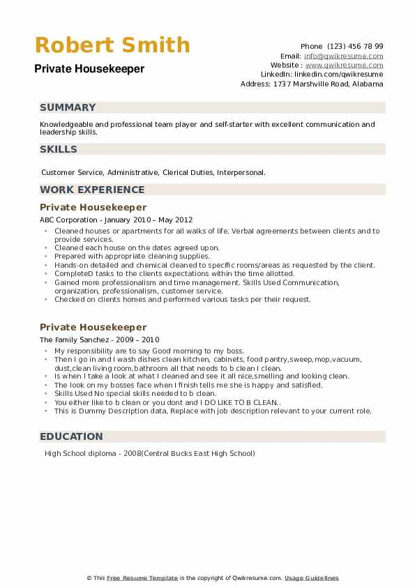 private housekeeper resume samples qwikresume nanny pdf summary examples for security Resume Nanny Housekeeper Resume