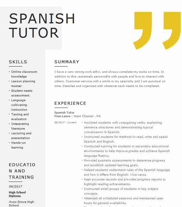 private spanish tutor resume example wyzant tutoring instructor good headline for oracle Resume Spanish Instructor Resume