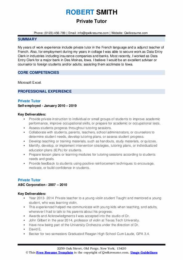 private tutor resume samples qwikresume responsibilities of for pdf serif font senior Resume Responsibilities Of A Tutor For Resume