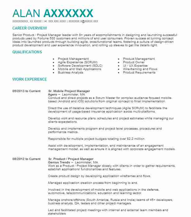 product manager resume example bmw technology chicago headline for test engineer software Resume Mobile Product Manager Resume