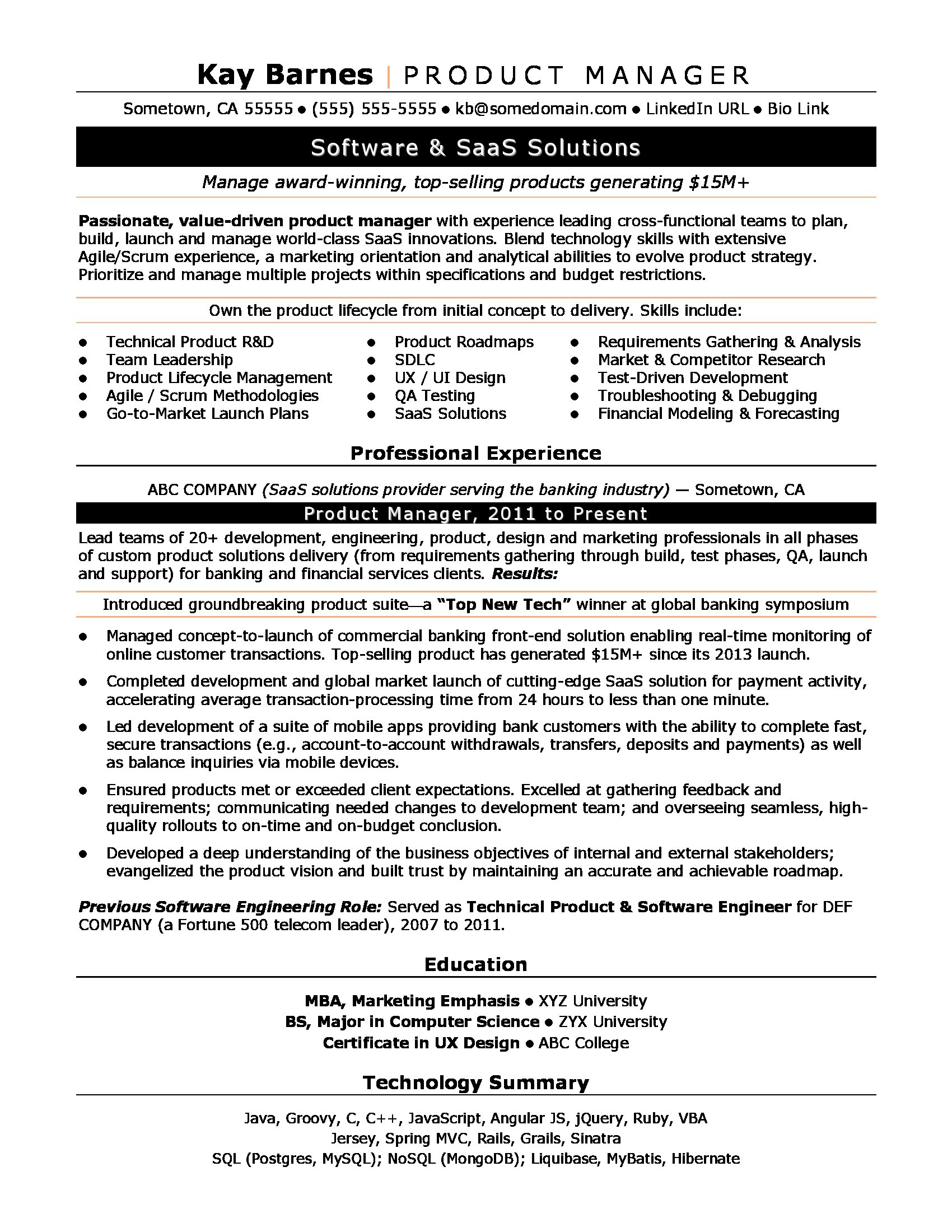 product manager resume sample monster examples for team leader productmanager relevant Resume Resume Examples For Team Leader