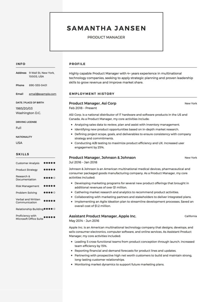 product manager resume sample template example cv formal design examples guide technician Resume Product Manager Resume Examples