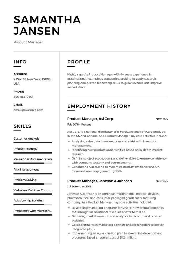 product manager resume sample template example cv formal design examples student job Resume Basic Resume Format Template