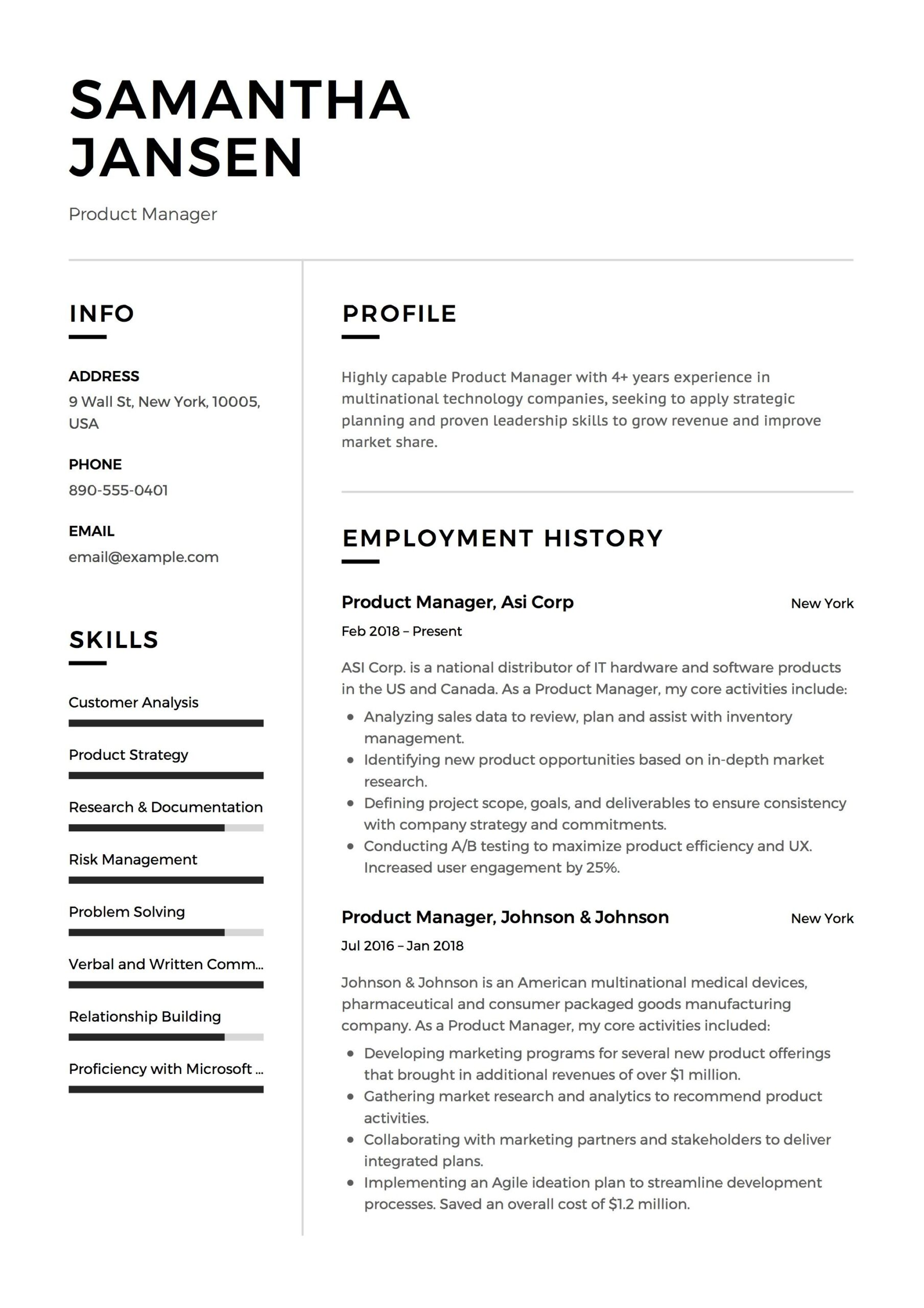 product manager resume sample template example cv formal design examples student job Resume Product Manager Skills Resume