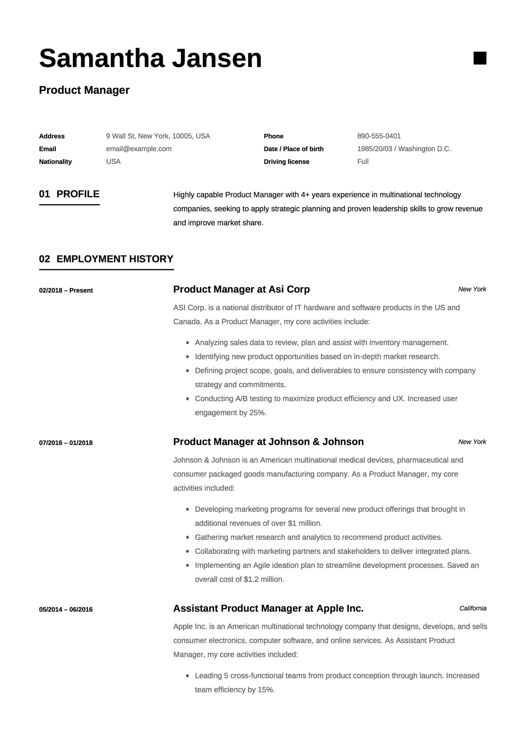 product manager resume sample template example cv formal design guide server examples Resume Product Manager Resume Examples