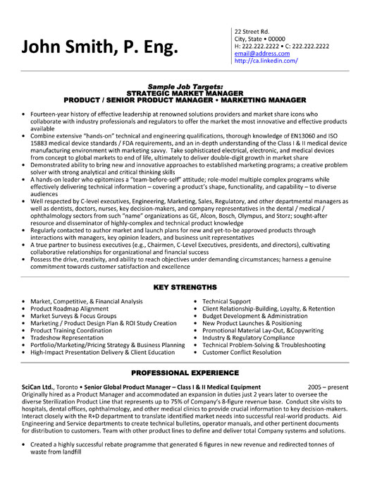 product manager resume sample template management executive medical equipment writers Resume Product Management Resume Template