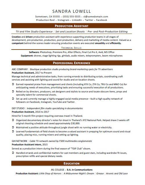 production assistant resume sample monster film industry format technology template Resume Film Industry Resume Format