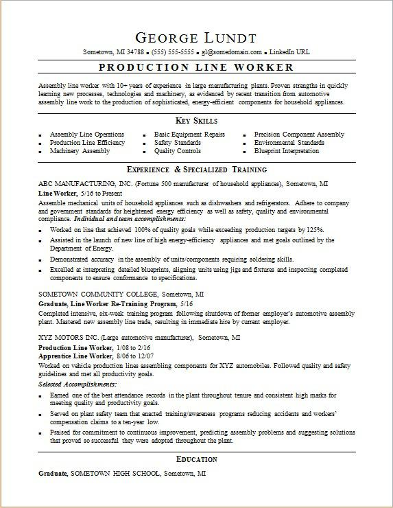 production line resume sample monster for trade jobs worker tmcf best outline automation Resume Resume For Trade Jobs