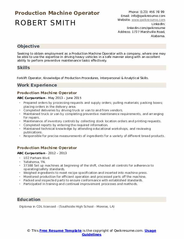production machine operator resume samples qwikresume examples pdf linkedin vs franz Resume Machine Operator Resume Examples