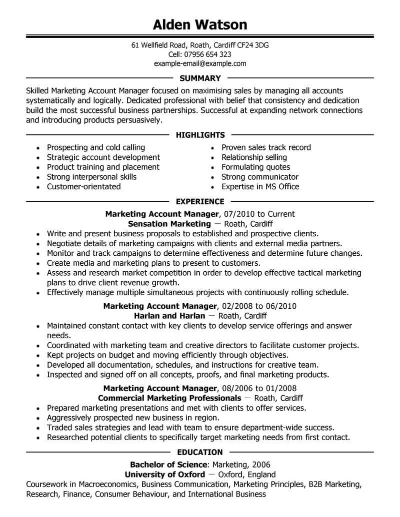 professional account manager resume examples marketing livecareer example executive for Resume Account Manager Resume Example