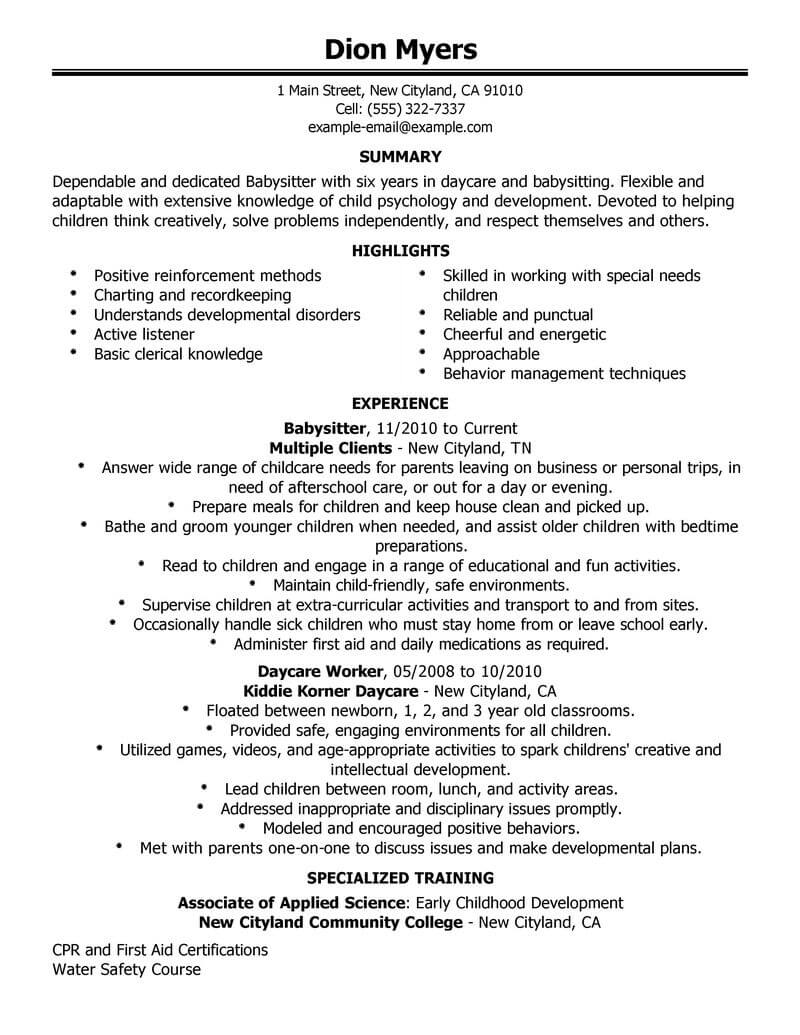 professional babysitter resume examples childcare livecareer no experience personal care Resume Babysitter Resume No Experience