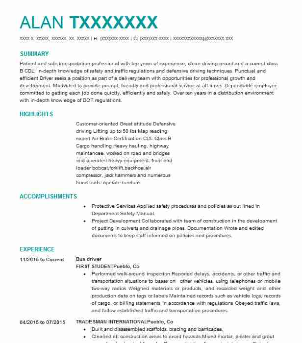 professional bus driver resume examples driving livecareer heavy daily writing tips Resume Heavy Bus Driver Resume
