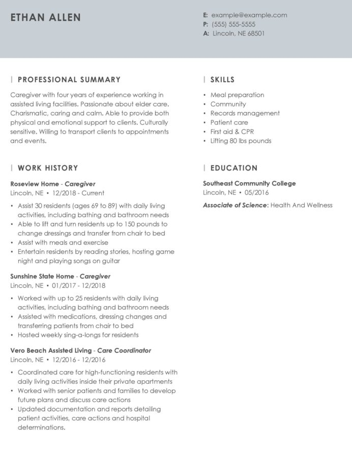 professional caregiver resume example tips myperfectresume personal attributes examples Resume Personal Attributes Examples For Resume