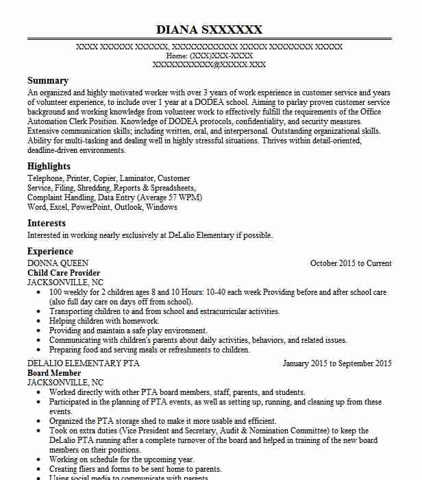 professional child care provider resume examples childcare livecareer json schema Resume Child Care Resume Examples