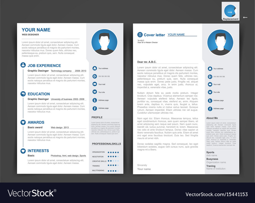 professional cv resume template two vector image format optimization software embedded Resume 2 Page Resume Format