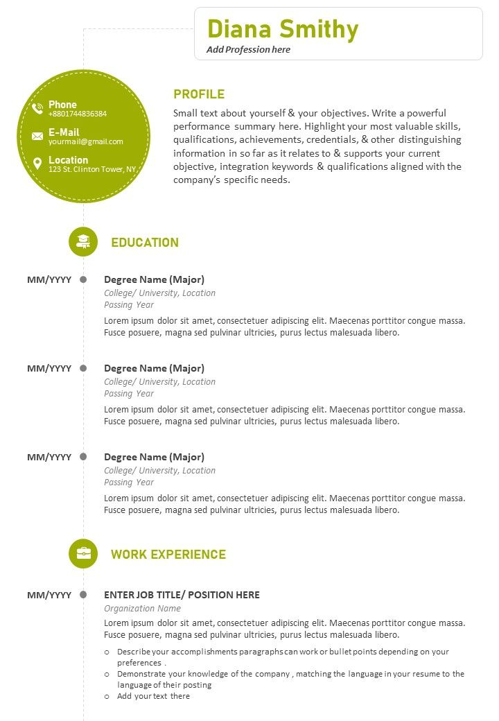 professional cv sample with previous work details powerpoint slides diagrams themes for Resume Describe Yourself In Your Resume