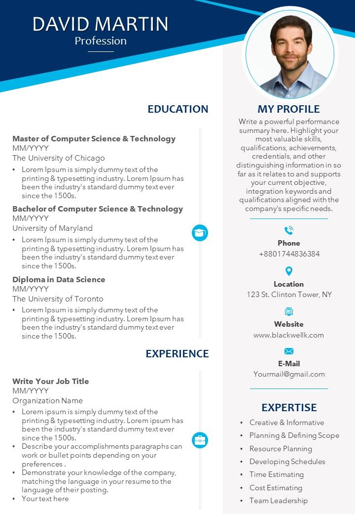 professional cv template with educational details and skills powerpoint templates Resume Most Professional Resume Template
