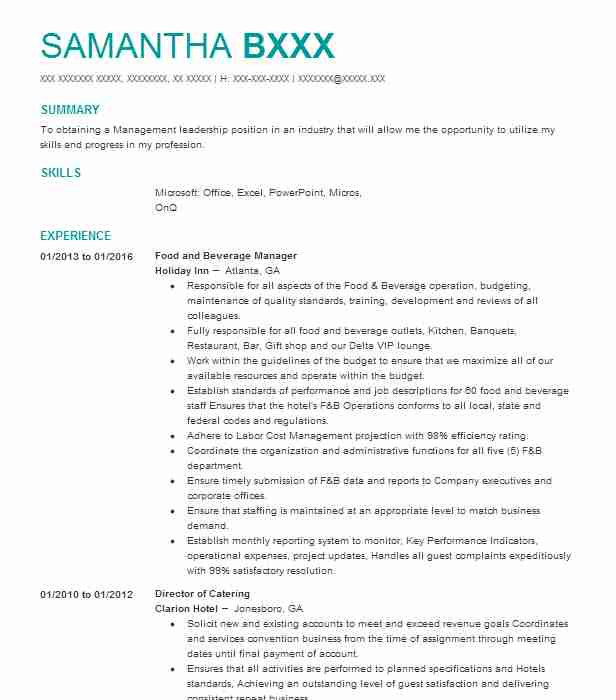 professional food and beverage manager resume examples service livecareer director entry Resume Food And Beverage Director Resume